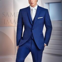 Modern Fit Black Jean Yves Tuxedo w// Flat Front Pants Merino Wool Wedding Prom